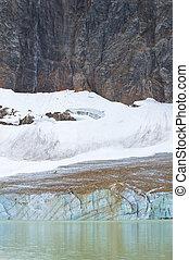 cavell., kanadyjczyk, edith, obsada, jasper., może, alberta., krajobraz