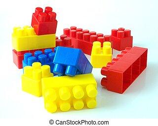 cegły, plastyczna zabawka, bricksplastic