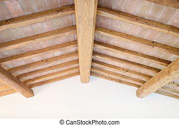 cegły, włochy, sufit, wall., tradycyjny, belka, drewno, toskańczyk, czerwony