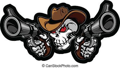 cel, pistolety, czaszka, kowboj