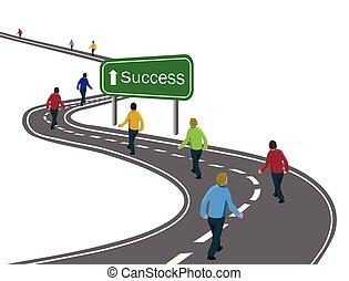 cele, albo, pieszy, pojęcie, grupa, powodzenie, asfalt, mężczyźni, droga, strzała znaczą, podróż, zielony, zwycięstwo, droga, kooperacja, łukowaty, biały, drużyna, dokonując, szosa