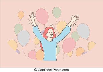 celebrowanie, pojęcie, powodzenie, zabawa, święto, radość