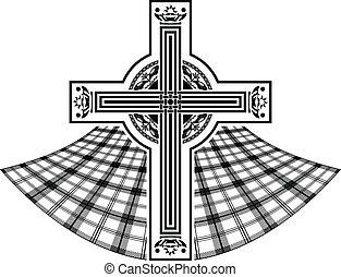 celtycki, szablon, krzyż, scottish