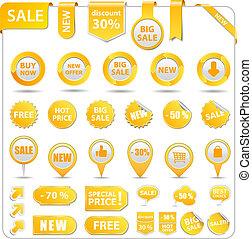 cena, żółty, skuwki