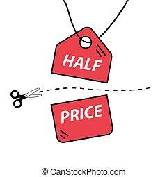 cena, cięty, pół