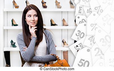 center., kobieta shopping, młody, sprzedaż, portret, oczyszczenie