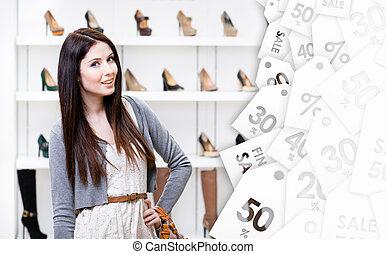 center., kobieta shopping, sprzedaż, czas, portret, pół-długości