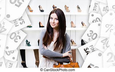 center., sezonowy, zakupy, sprzedaż, portret, pół-długości, dama