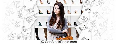 center., zakupy, piątek, czarnoskóry, portret, pół-długości, dama
