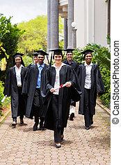 ceremonia, pieszy, grupa, absolwenci