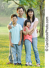 chód, lato, rodzina, okolica, asian, cieszący się