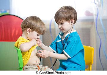 chłopcy, gra, dzieci, doktor