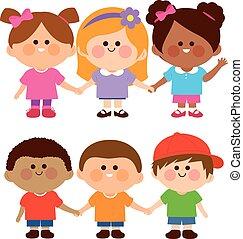 chłopcy, ilustracja, wektor, rozmaity, hands., grupa, dzierżawa, dziewczyny