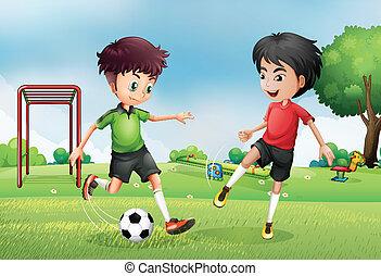 chłopcy, piłka nożna, park, dwa, interpretacja