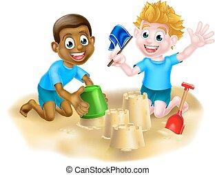 chłopcy, plaża, rysunek