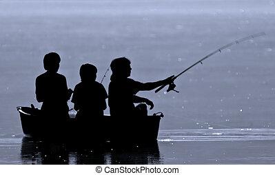 chłopcy, trzy, wędkarski