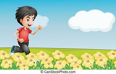 chłopieć bieg, ogród