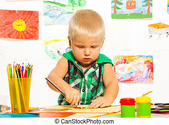chłopiec, 2, rysunek, lata