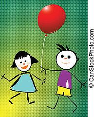 chłopiec, balloon, dziewczyna, interpretacja