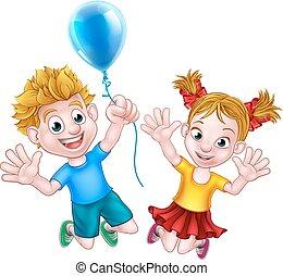 chłopiec, balloon, skokowy, dziewczyna, rysunek