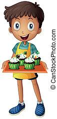 chłopiec, cupcakes, taca, młody, dzierżawa