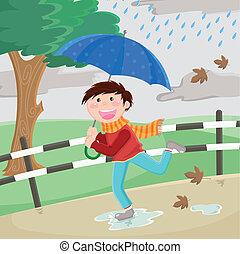 chłopiec, deszcz