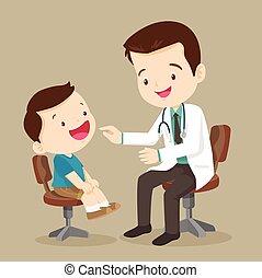chłopiec, doktor, sprytny, zobaczcie