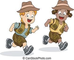 chłopiec, dzieciaki, wyścigi, przygoda, safari, dziewczyna