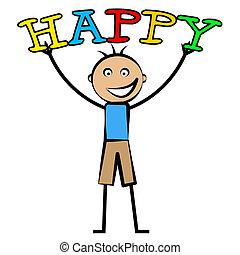 chłopiec, dzieciaki, zabawa, szczęśliwy, szczęście, widać