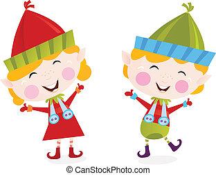 chłopiec, dziewczyna, boże narodzenie, elfy