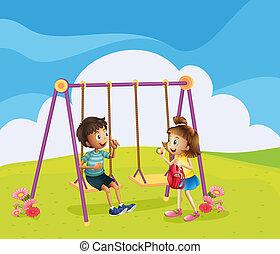 chłopiec, dziewczyna, plac gier i zabaw
