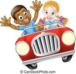 chłopiec, dziewczyna, rysunek, wóz