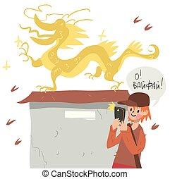 chłopiec, jaźń, telefon, dragon., wpływy, mądry