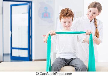 chłopiec, klinika, terapia, fizyczny