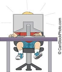 chłopiec, komputer