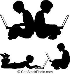chłopiec, korzystać, posiedzenie, laptopy, dziewczyna, albo, leżący, gruntowy