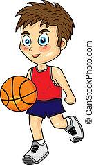 chłopiec, koszykówka, sprytny, kapiąc
