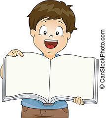 chłopiec, książka, otwarty, koźlę, czysty