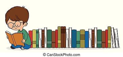 chłopiec, książki, garść, czytanie