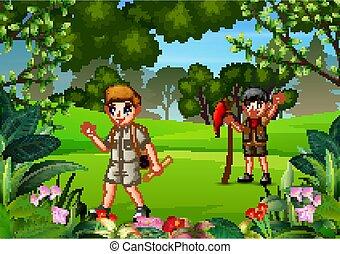 chłopiec, las, hiking, wywiadowcy
