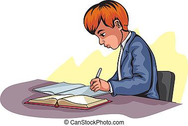 chłopiec, młody, pisanie