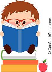 chłopiec, mały, books., ilustracja, wektor, czytanie