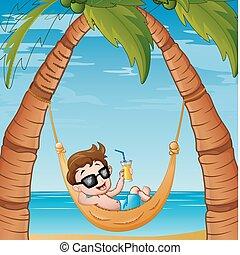 chłopiec, mały, cocktail, odprężając, hamak, picie, plaża, rysunek