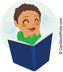chłopiec, mały, czytanie
