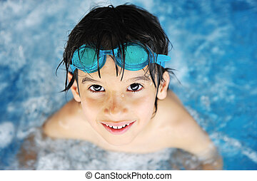 chłopiec, mały, kałuża, pływacki