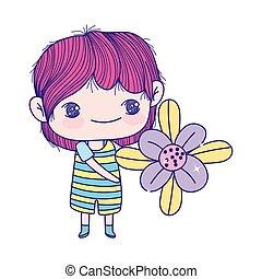 chłopiec, mały, piękny, sprytny, dzierżawa kwiat, rysunek
