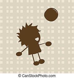 chłopiec, mały, piłka, interpretacja
