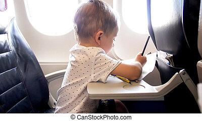 chłopiec, mały, stary, ołówki, przelotny, lata, znowu, 2, portret, samolot, rysunek