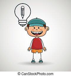 chłopiec, mechanizmy, idea, ikona