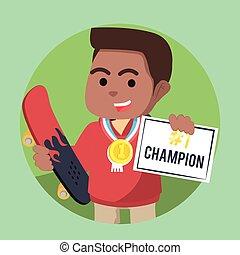 chłopiec, mistrz, świadectwo, zdobywać, łyżwiarz, afrykanin, medal